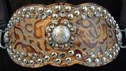 Bling Bronc Halters. Our New contoured style bronc noseband overlayed with Beautiful Copper floral embossed hide, Silver Spots, Black Diamond and Copper Swarovskis with Two-tone berry hardware. Beautiful!