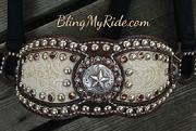 Floral embossed inlay bronc halter with Texas star hardware and Smoke Topaz Swarovskis.