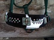 Black and white hair on hide, cross hardware and Peridot and Crystal AB swarovski bling halter.