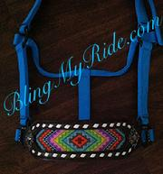 Wide beaded and buckstitched bling bronc halter.