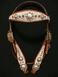 Chestnut oil browband w/ Smoke Topaz Swarovskis, roan cowhide and antiqued hardware.
