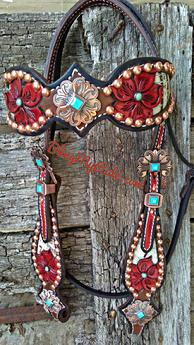 Hand tooled and lnlaid browband headstall.