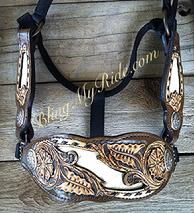 Hand tooled bronc halter with Bone croc. inlays, black buckstitch and antique silver hardware.