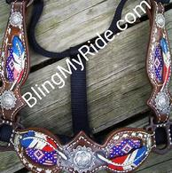 Hand tooled, painted, buckstitched and beaded bronc halter.