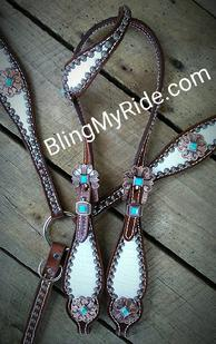 White croc. bling tack set with Antique copper and turquoise hardware.