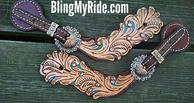 Hand tooled and painted scroll cut-out spur straps with Swarovski crystals.