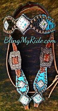 Chocolate and Turquoise croc. bling browband headstall. Crystal AB Swarovskis and silver spots.