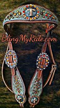 Brindle hair on hide bling browband headstall with Fire Opal Swarovskis and antique copper cross hardware.