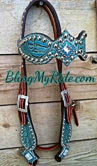 Antique turquoise croc. bling browband headstall.
