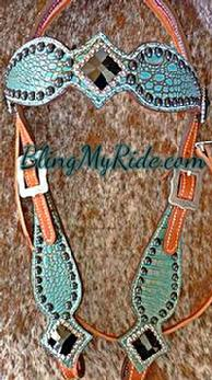 Antique turquoise croc. and Jet Swarovski bling browband headstall, outlined in black spots.
