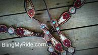 Hand tooled and painted Oxblood floral Bling tack set