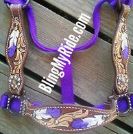 Purple and white hand tooled feathers an scroll work halter.