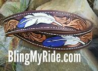 Hand tooled and painted western scroll 'n' feathers belt.