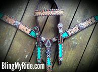 Hand tooled bling tack set w/ Teal Caimen Gator inlays. Ant. Copper and Patina'd spots and Swarovski crystals.