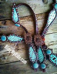 Mint Chocolate croc inlaid bling tack set with Patina'd spots and Turquoise Pinwheel conchos.