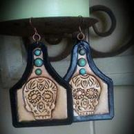 Sugar Skull Hand tooled and dyed earrings with sleeping beauty turquoise.