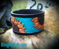 Hand tooled and painted leather sunflower cuff bracelet