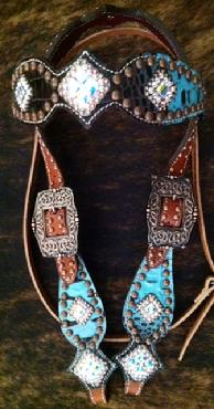 Turquoise and Chocolate brown/black croc. bling browband headstall with Crystal AB Swarovskis bling...Even on the crown!