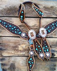 Turquoise chunk, hand stamped bling tack set.