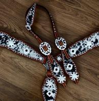 Bling tack set. Black/white speckled hide hair on, Brite shine silver hardware with Clear Crystal and Jet Swarovskis.