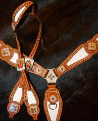 Bling Tack set. Herman Oak leather. White croc. inlays, Clear Crystals and Crystal AB Swarovskis. Breastcollar and single ear headstall.