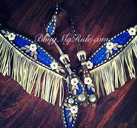 Hand tooled and painted fringe tack set with single ear headstall.