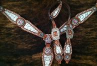 Bling tack set w/ single ear, one inch crown, floral inlays and Antique silver daisy hardware with Rose pink Swarovskis.