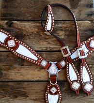 Bling tack set with white croc. inlays and Crystal AB Swarovskis.