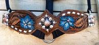 Hand tooled, painted and buckstitched noseband/halter.