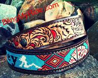 Beaded and hand tooled western belt