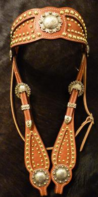 Bling browband headstall with all brass hardware and two tone conchos and three piece buckles. VERY unique AND beautiful.