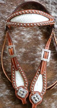 White croc. inlay bling browband headstall with Clear Crystal Swarovski bling.