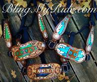 Hand tooled and customized bling bronc halter.