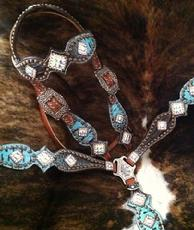 Bling tack set  in two-tone Turquoise and brown croc. w/ Crystal AB Swarovskis...even on the crown! NOT for the faint of heart. One of the most gorgeous sets we've done and the pics do it NO justice!