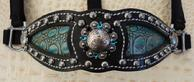 Bling Inlay halter. Black leather, Antique Turq. Croc. Inlay, Ant. Silver conchos. Jet and Blue Zircon Swarovski bling