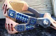 Bling barrel stirrup with blue Swarovskis.