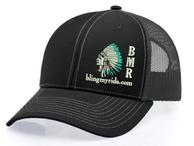 BlingMyRide ball cap. Black with turq. feather tips.