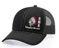 BlingMyRide ball cap. Black with Fuschia feather tips.