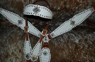 White croc. overlay bling tack set w/ browband headstall, and Clear crystal and Crystal AB Swarovskis
