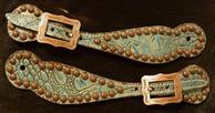 Antique turquoise croc. spur straps w. Copper Ox fancy spots and bronze buckles.