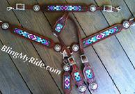 Custom, beaded, hand stamped tack set.