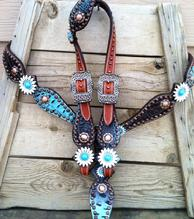 Bling tack set with daisy conchos. Turquoise and CHOCOLATE BROWN croc. hide overlay.