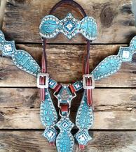 Antique turquoise bling tack set with browband headstall.