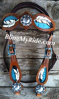 Hand tooled feather browband headstall.