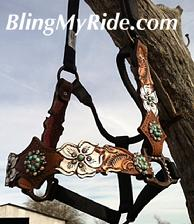 Hand tooled white floral cut out halter with Sleeping Beauty turq/ and Golden shadow swarivskis