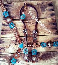 Hand tooled floral cut-out bling tack set set w/  turquoise flower.