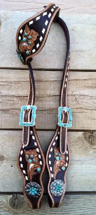 Hand tooled, buckstitched bling headstall.