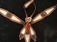 Tack Set. Bone croc. inlays, Herman Oak leather, Copper/bronze Bucking bronc hardware and fancy bronze spots.