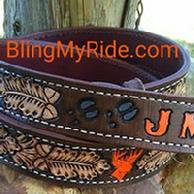 Hand tooled and painted hunting themed western belt.