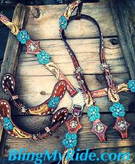 Custom, hand tooled, floral cut-out bling tack set with matching hand tooled and painted spur straps.
